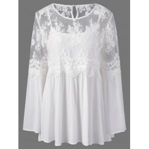 Plus Size Lace Panel Semi Sheer Smock Blouse
