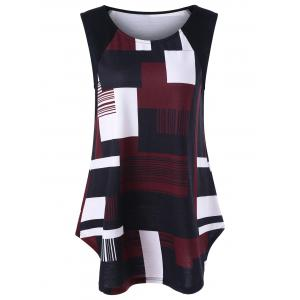 Geometric Plus Size Extra Long Tank Top - Black And White And Red - 3xl