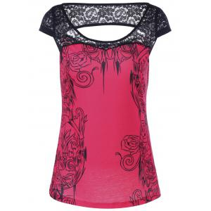 Lace Panel Floral Print Blouse - Black And Rose Red - L