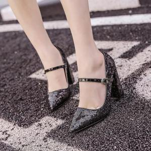 Sequined Pointed Toe Pumps -