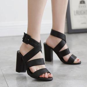 Cross Strap Block Heel Sandals