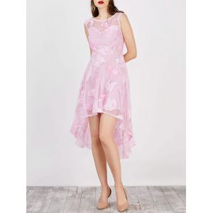 High Low Flowy Wedding Party Lace Dress - Pink - S