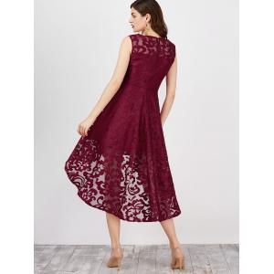 Lace High Low Swing Evening Party Dress - WINE RED S