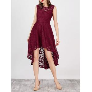Lace High Low Swing Evening Party Dress - Wine Red - M
