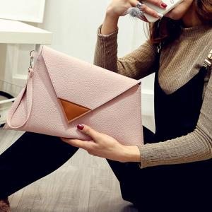 Asymmetrical Clutch Bag with Wristlet - PINK HORIZONTAL
