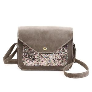 Sequins Insert Cross Body Mini Bag - Gray - Horizontal