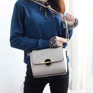 PU Leather Metal Detail Crossbody Bag -