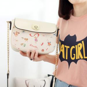 Flap Cross Body Cartoon Print Bag -