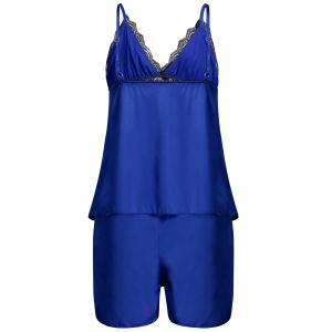 Lace Panel Cami Summer Pajamas Set - ROYAL XL