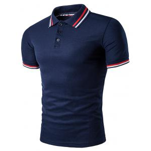Polo T-Shirt with Striped Sleeve Collar - Cadetblue - M