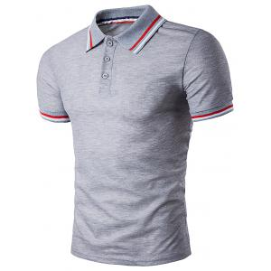 Polo T-Shirt with Striped Sleeve Collar - Light Gray - M