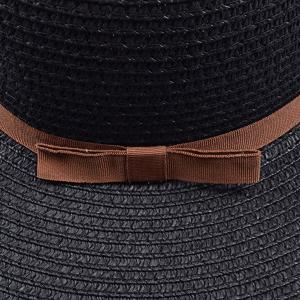 Bow Band Cloche Sun Straw Hat - BLACK