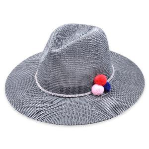 Small Pompon Rope Embellished Straw Jazz Hat