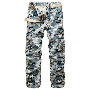 Multi Pockets Camo Pattern Cargo Pants