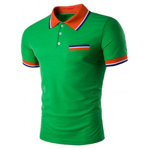Fake Pocket Striped Polo T-Shirt - Green - M