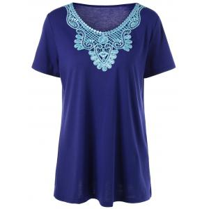Plus Size Embroidered Panel Peasant T-Shirt