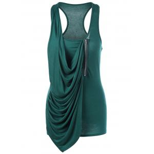 Zipper Design Draped Tank Top