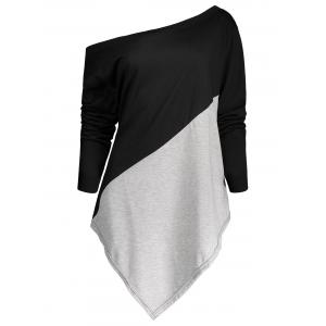 Color Block Asymmetric Plus Size Tee - Black And Grey - 5xl