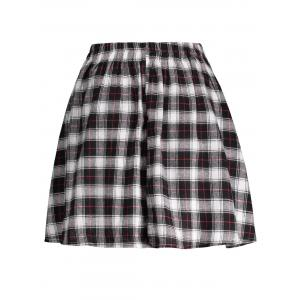 Plaid A Line Mini Skirt - BLACK S