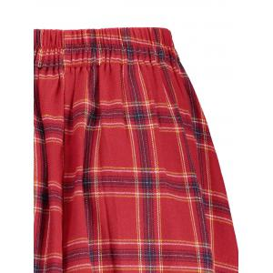 Plaid A Line Mini Skirt - RED S