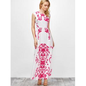 Cap Sleeve Long Printed Maxi Cocktail Party Dress - WHITE XL