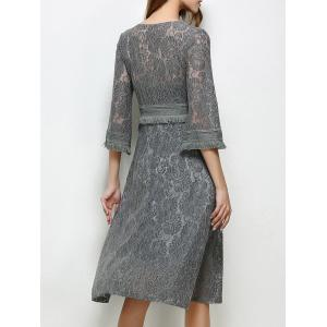 Lace Surplice A Line Fringe Swing Modest Dress - GRAY M