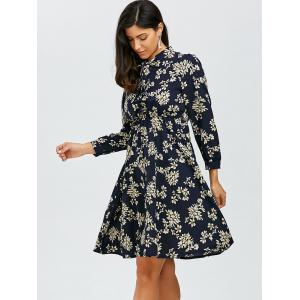 Bowknot Floral Print Chiffon Dress with Elastic Waist - PURPLISH BLUE S