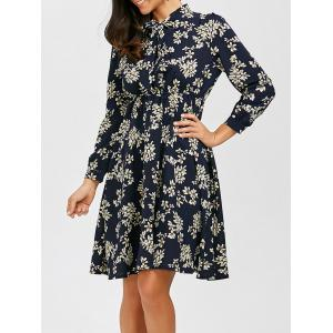 Bowknot Floral Print Chiffon Dress with Elastic Waist
