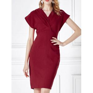 Ruched Cap Sleeve High Waist Sheath Dress - Red - Xl