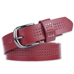Small Hole Studded Pin Buckle PU Belt - Wine Red - 37