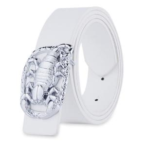 Wide Belt with Scorpion Shape Covered Buckle - White - 120cm