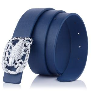 Wide Belt with Scorpion Shape Covered Buckle - Cerulean