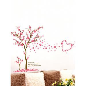 Removable Plum Blossom Tree Print Vinyl Waterproof Wall Sticker - Pink - 60*90cm
