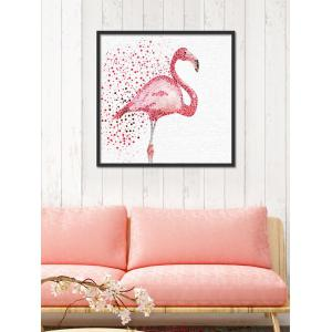 Watercolor Dotted Flamingo Print Wall Art Canvas - Red - 30*30cm