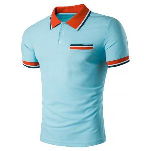 Fake Pocket Striped Polo T-Shirt