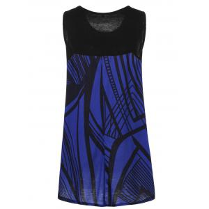 Plus Size Graphic Extra Long Tank Top - BLACK AND BLUE 3XL