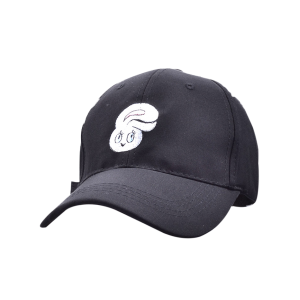 Baseball Hat with Cartoon Rabbit Head Embroidery - Black