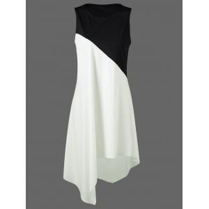 Color Block Swing Sleeveless Casual Dress Boutique - White And Black - 2xl