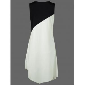 Color Block Swing Sleeveless Casual Dress Boutique - WHITE AND BLACK 2XL