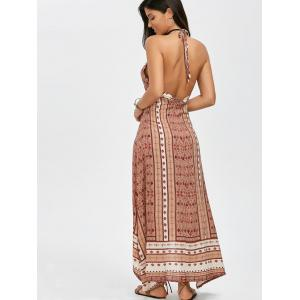 Boho Maxi Halter Low Back Asymmetric Summer Dress -