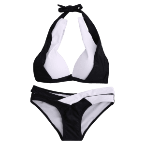 Stylish Halterneck Hit Color Bikini Bathing Suit - WHITE/BLACK L
