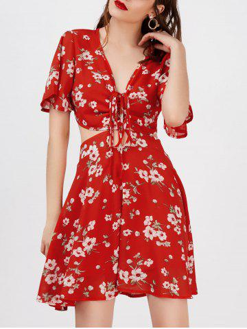 Buy Plunging Floral Print Cutout Beach Dress - Red L