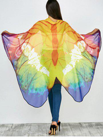 Color Mix Light Butterfly Wing Print Chiffon Pashmina Scarf Cape with Straps - Colormix - 130*200cm