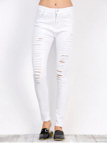 Unique Distressed High Waist Stretchy Skinny Pants WHITE 2XL