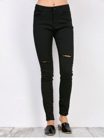 Cheap High Waisted Distressed Jeans - S BLACK Mobile