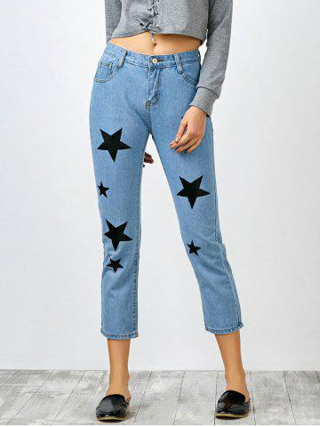 Trendy Star Print Jeans with Pockets BLUE S