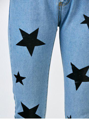 Outfits Star Print Jeans with Pockets - S BLUE Mobile
