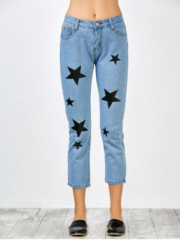 Shop Star Print Jeans with Pockets - S BLUE Mobile