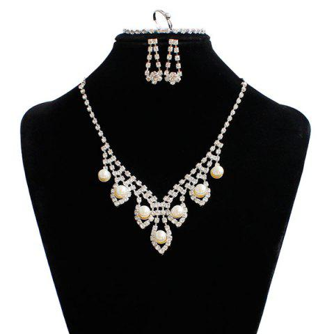 Affordable Artificial Pearl Wedding Rhinestone Jewelry Set - SILVER  Mobile