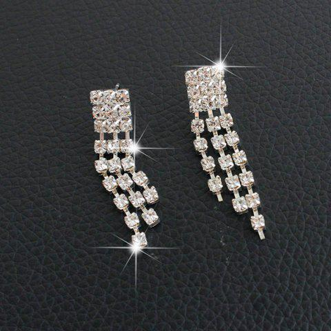 Hot Fringed Rhinestone Necklace and Earrings - SILVER  Mobile
